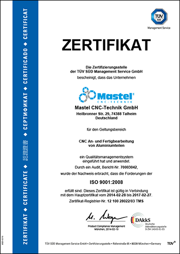 Mastel CNC is ISO 9001 certified